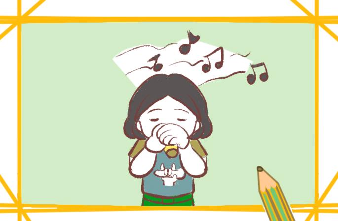认真唱歌的女孩简笔画要怎么画