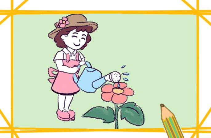 浇花的小女孩简笔画要怎么画