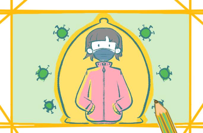 戴口罩的保护罩简笔画小学生要怎么画