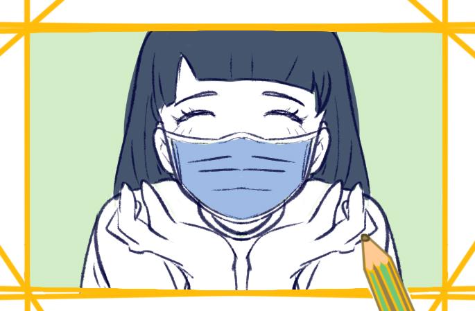 戴口罩的漂亮女生简笔画要怎么画