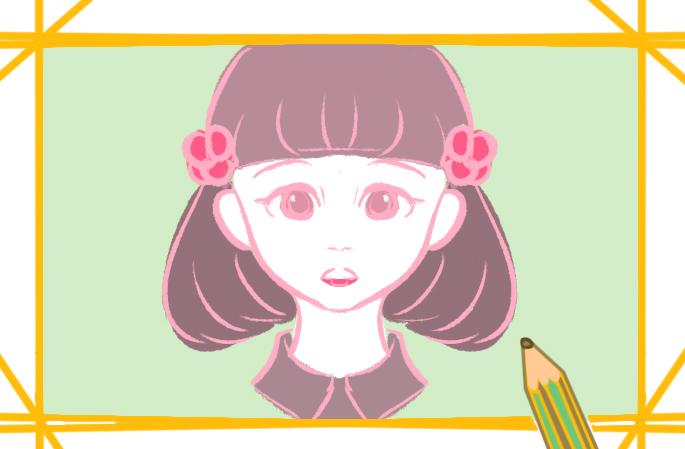 美丽的女生小学生简笔画图片要怎么画