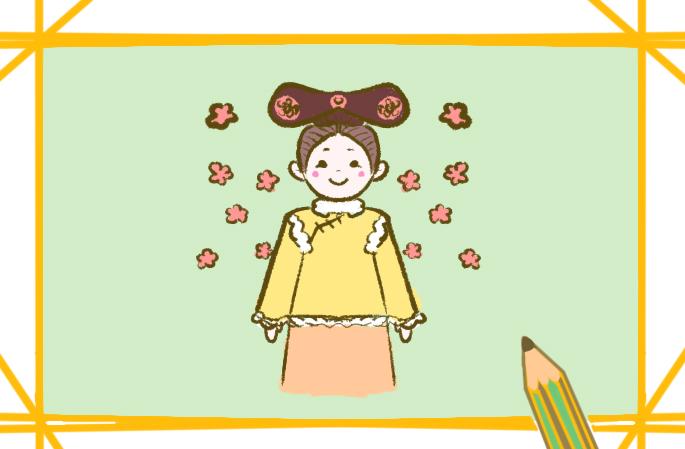 满族女孩简笔画图片教程