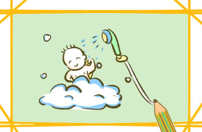 洗澡的小宝宝简笔画要怎么画