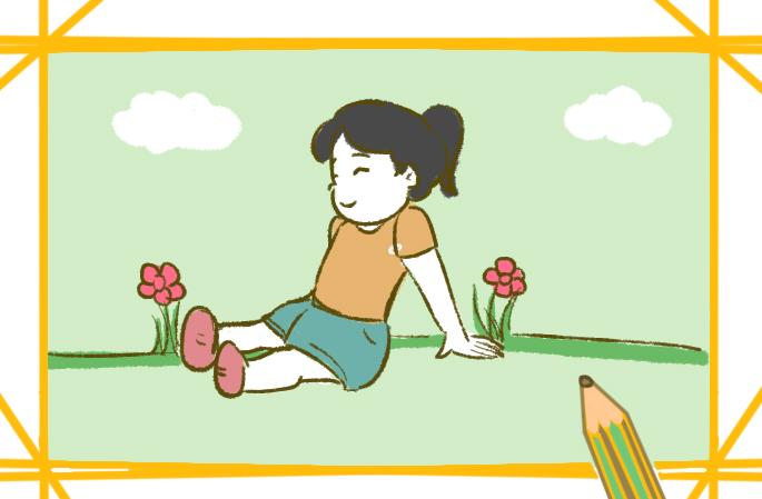 郊游的女孩小学生简笔画要怎么画