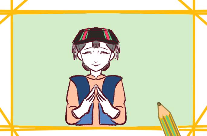 可爱的苗寨女孩简笔画图片要怎么画