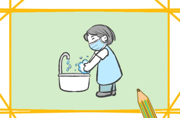 爱洗手的女孩简笔画图片教程