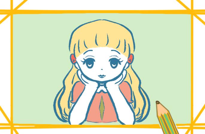 长发的小女孩简笔画图片教程