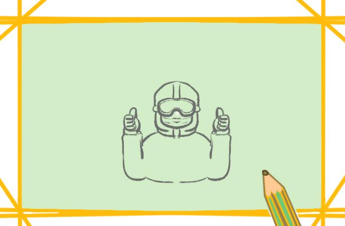 中国防疫人员上色简笔画要怎么画