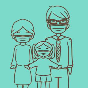 简笔画戴口罩图片-戴口罩排队图片简笔画