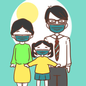 戴口罩的一家人简笔画要怎么画