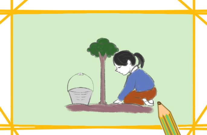 种树的女孩简笔画要怎么画