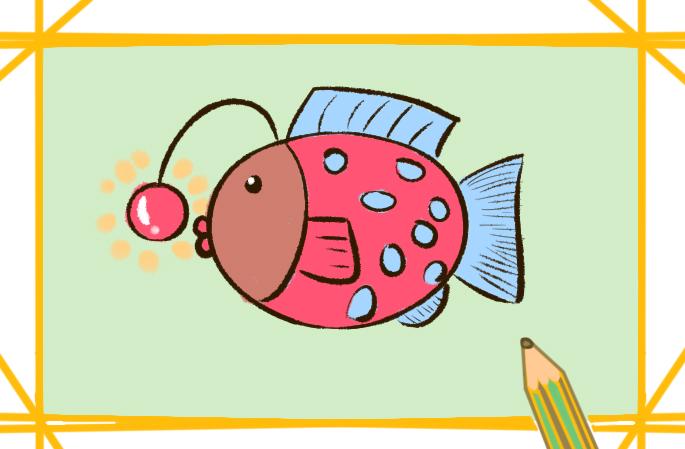深海的灯笼鱼简笔画图片要怎么画