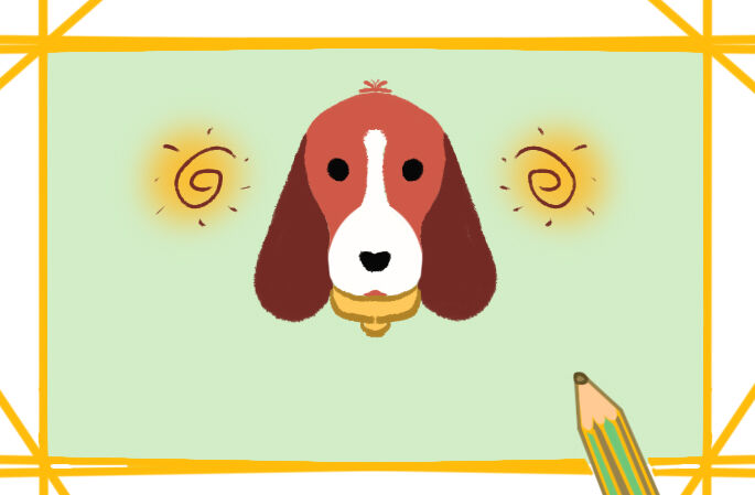 可爱的比格犬彩色简笔画图片教程