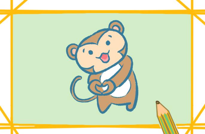 漂亮的猴子上色简笔画图片教程