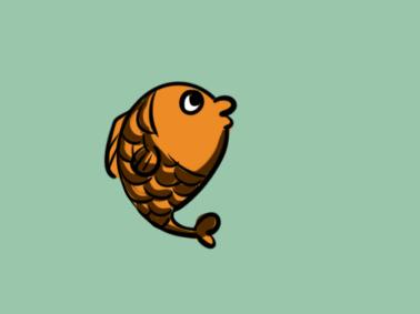 金色的鱼简笔画要怎么画
