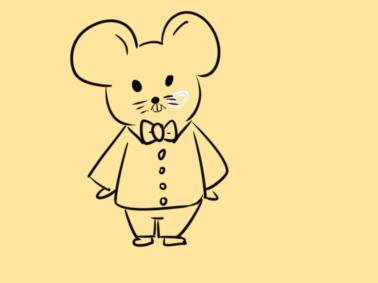 新年穿新衣服的老鼠簡筆畫怎么畫