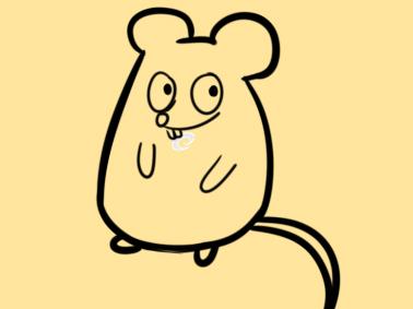 春节超简单的卡通老鼠简笔画步骤图