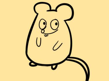 春節超簡單的卡通老鼠簡筆畫步驟圖