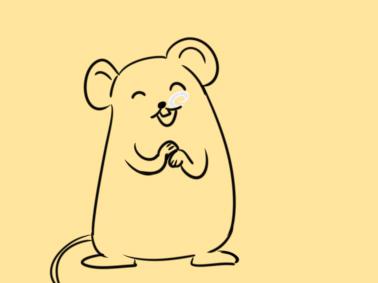 超简单的拜年的老鼠简笔画步骤图