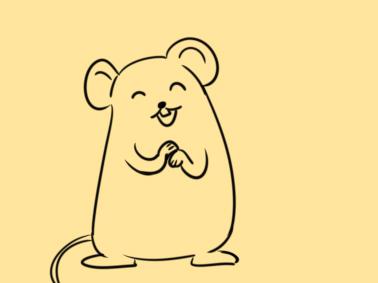 超簡單的拜年的老鼠簡筆畫步驟圖
