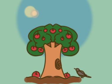 好看的苹果树简笔画步骤图