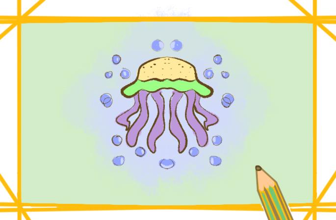 海底生物水母简笔画要怎么画