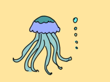 海底的水母简笔画要怎么画