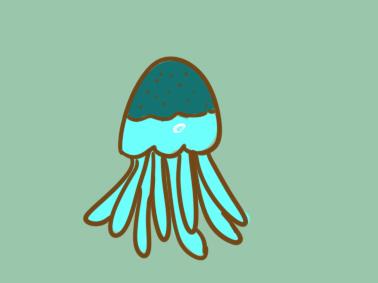 超简单的水母简笔画步骤图