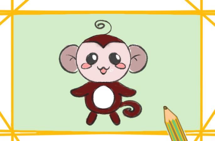 可爱的猴子玩偶简笔画教程步骤