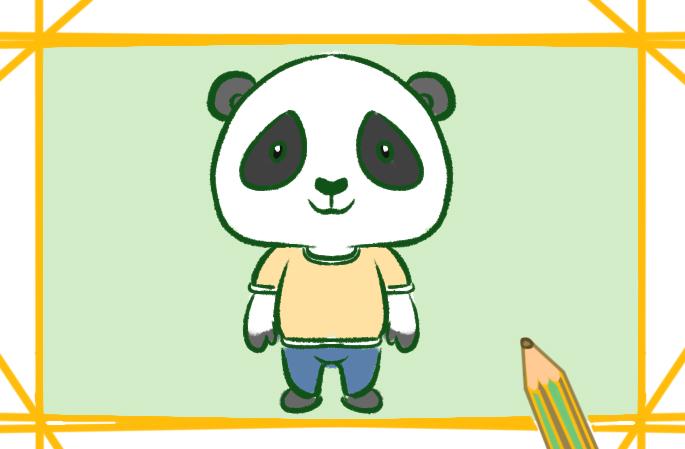 可爱的卡通大熊猫上色简笔画要怎么画