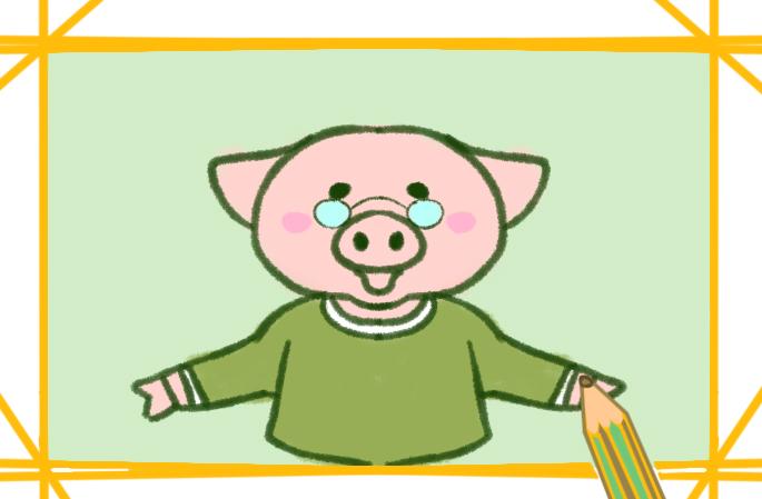 和蔼的猪猪简笔画教程步骤