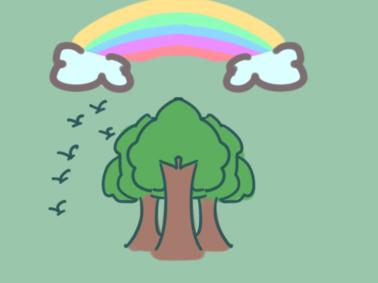 超简单的植树节简笔画步骤图