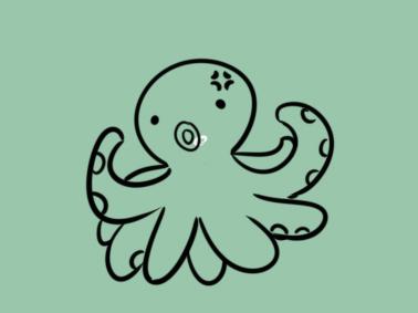 愤怒的章鱼简笔画要怎么画