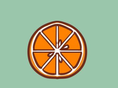 橙子切片簡筆畫教程步驟