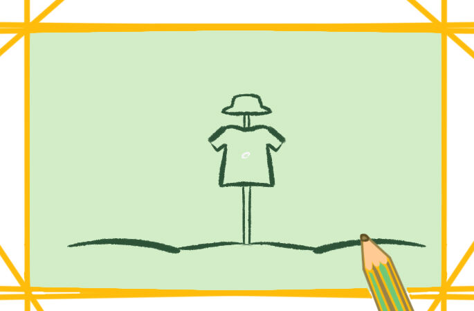 田园上的稻草人简笔画原创教程步骤 5068儿童网