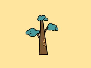 高大的树儿童简笔画要怎么画