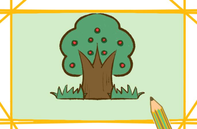 好看的果树简笔画步骤图