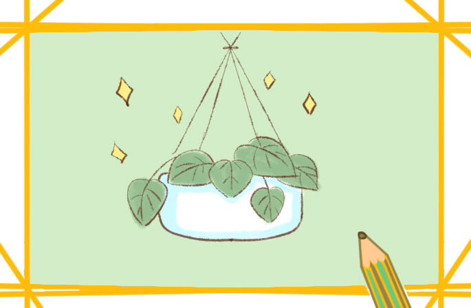 淡雅的盆栽简笔画步骤图