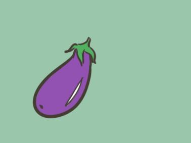 蔬菜茄子简笔画要怎么画