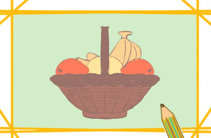 漂亮的水果篮简笔画要怎么画