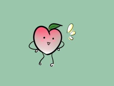 卡通水蜜桃简笔画要怎么画