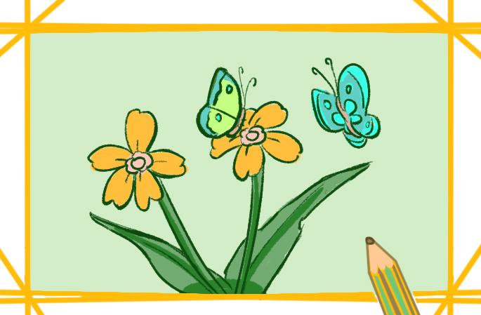 蝴蝶与花简笔画要怎么画