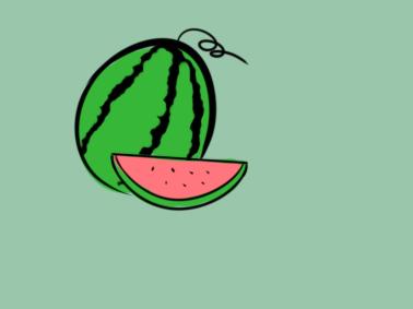 夏天清凉的西瓜简笔画要怎么画