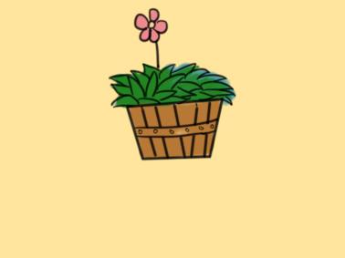 漂亮的盆栽儿童简笔画要怎么画