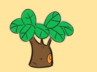 植物之漂亮的树儿童简笔画要怎么画