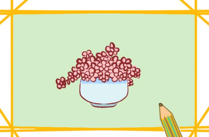 漂亮的花盆原创简笔画教程步骤