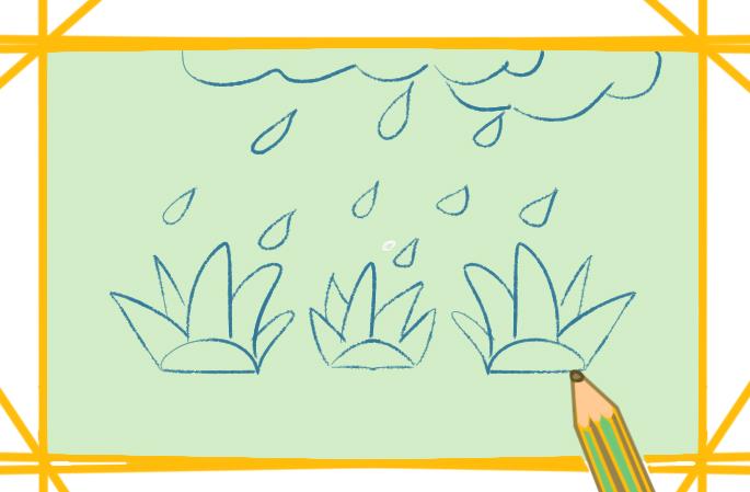 下雨的景色简笔画图片教程