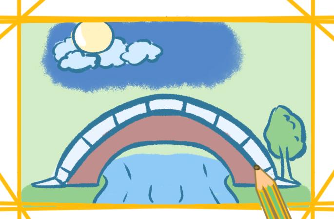 拱桥景色简笔画要怎么画