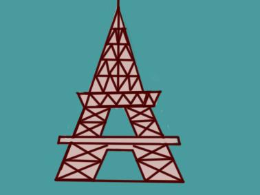 美丽的埃菲尔铁塔儿童简笔画要怎么画