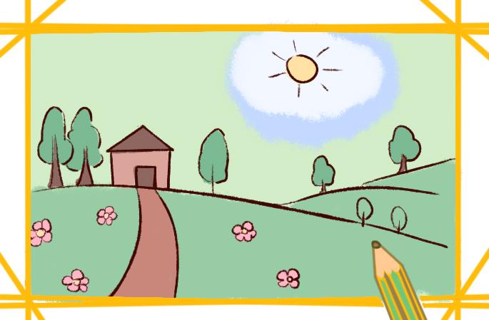 田园美景简笔画要怎么画